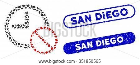 Collage No Time And Distressed Stamp Seals With San Diego Caption. Mosaic Vector No Time Is Created