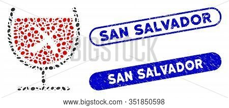 Mosaic No Wine Drinking And Rubber Stamp Seals With San Salvador Caption. Mosaic Vector No Wine Drin