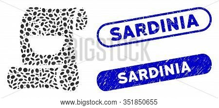 Mosaic Original Asian Recipe And Rubber Stamp Watermarks With Sardinia Caption. Mosaic Vector Origin
