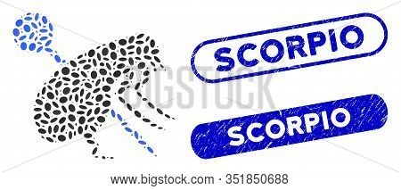 Mosaic Pinned Flea And Grunge Stamp Seals With Scorpio Phrase. Mosaic Vector Pinned Flea Is Designed