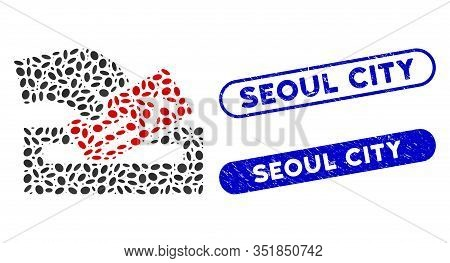 Mosaic Protest Poll And Distressed Stamp Seals With Seoul City Caption. Mosaic Vector Protest Poll I