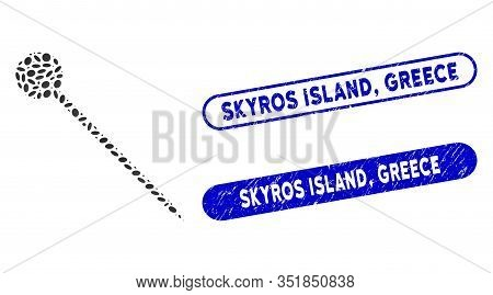 Mosaic Sharp Pin And Corroded Stamp Seals With Skyros Island, Greece Text. Mosaic Vector Sharp Pin I