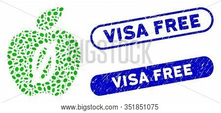 Mosaic Zero Calories Apple And Grunge Stamp Watermarks With Visa Free Phrase. Mosaic Vector Zero Cal