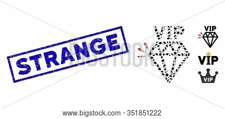 Mosaic Vip Brand And Grunge Rectangle Stamp Watermark With Strange Text. Mosaic Vector Vip Brand Is