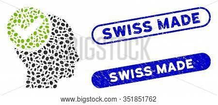 Mosaic Advised And Rubber Stamp Seals With Swiss Made Phrase. Mosaic Vector Advised Is Formed With R