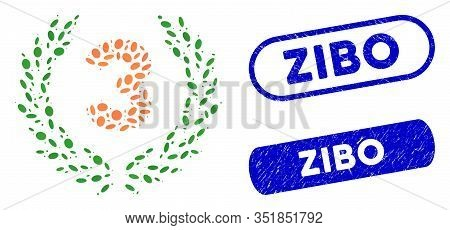 Mosaic Third Laurel Wreath And Corroded Stamp Seals With Zibo Phrase. Mosaic Vector Third Laurel Wre