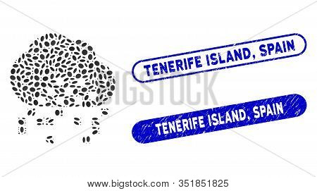 Mosaic Cloud Dissipation And Grunge Stamp Seals With Tenerife Island, Spain Phrase. Mosaic Vector Cl