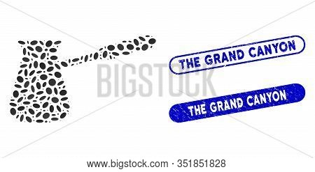 Collage Coffee Cezve And Grunge Stamp Seals With The Grand Canyon Text. Mosaic Vector Coffee Cezve I