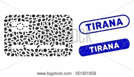 Mosaic Credit Card And Corroded Stamp Seals With Tirana Phrase. Mosaic Vector Credit Card Is Compose