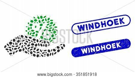Mosaic Give Percent Bonus And Grunge Stamp Seals With Windhoek Text. Mosaic Vector Give Percent Bonu