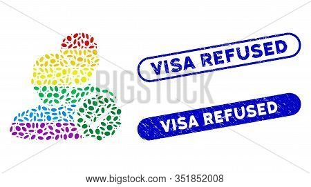 Mosaic For Gays And Distressed Stamp Seals With Visa Refused Caption. Mosaic Vector For Gays Is Desi