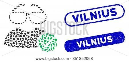 Mosaic For Clevers And Distressed Stamp Seals With Vilnius Text. Mosaic Vector For Clevers Is Design