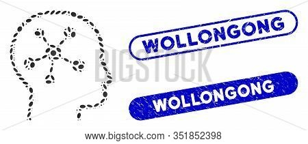 Mosaic Head Brain And Grunge Stamp Seals With Wollongong Phrase. Mosaic Vector Head Brain Is Compose