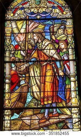 New Orleans, Louisiana, United States - October 6,2019 King Crusades Stained Glass Saint Louis Basil