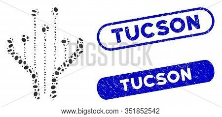 Mosaic Electronic Filter And Grunge Stamp Seals With Tucson Text. Mosaic Vector Electronic Filter Is