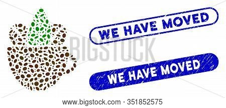 Mosaic Fresh Coffee Cup And Corroded Stamp Seals With We Have Moved Caption. Mosaic Vector Fresh Cof