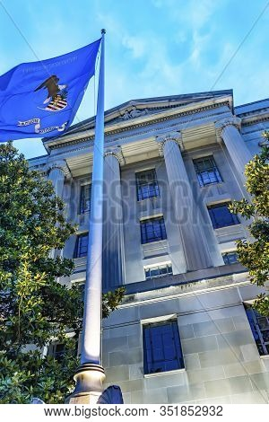 Facade Robert F Kennedy Justice Department Flag Building Pennsylvania Avenue Washington Dc Completed
