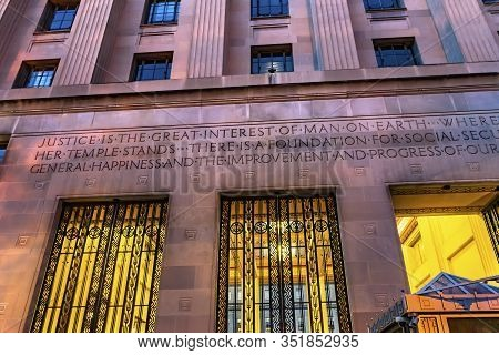 Entrance Gate Robert F Kennedy Justice Department Building Pennsylvania Avenue Washington Dc Complet