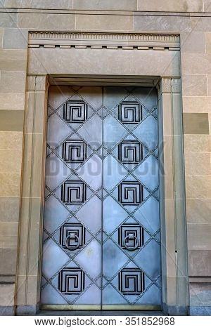 Entrance Metal Door Robert F Kennedy Justice Department Building Pennsylvania Avenue Washington Dc C