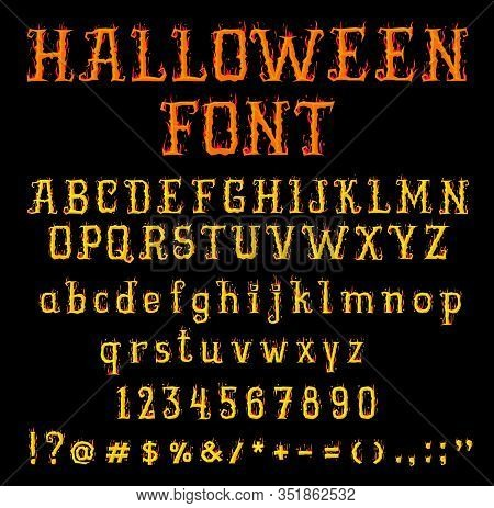 Halloween Fire Font. Burning Type Uppercase And Lowercase Letters, Numbers And Punctuation Symbols I