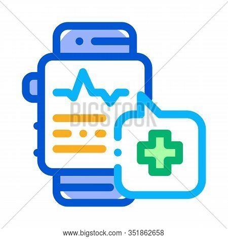 Heartbeat Watch Icon Vector. Outline Heartbeat Watch Sign. Isolated Contour Symbol Illustration