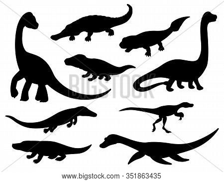 Dinosaur Black Silhouettes Of Jurassic Extinct Animals. Vector Prehistoric Dino Reptiles And Crocodi