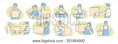 Set Of Postmen, Delivery Concept. Collecton Of Illustrations Of Postmen Boys And Girls Delivering Pa