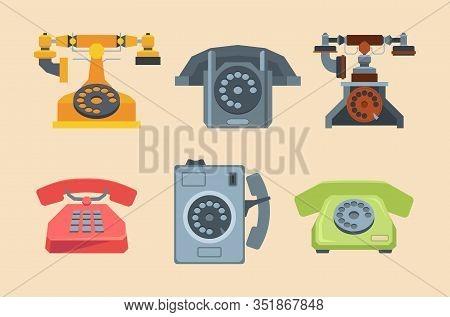 Antique Telephones. Handset Connection Retro Style Old Gadgets 80s 70s Technique. Vector Flat Pictur