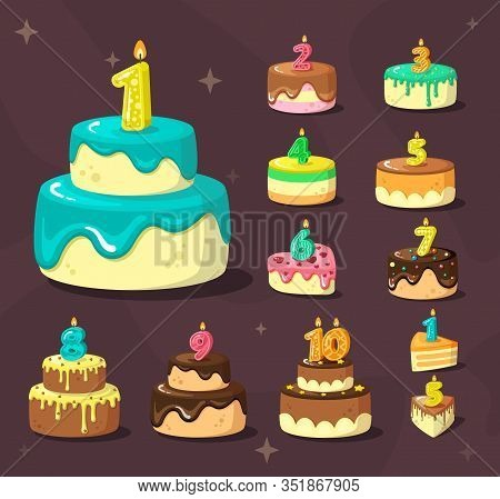 Birthday Cakes. Celebration Delicious Dessert With Anniversary Numbers And Party Candles. Vector Car