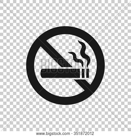No Smoking Sign Icon In Flat Style. Cigarette Vector Illustration On White Isolated Background. Nico