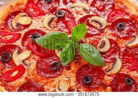 Hot Homemade Pepperoni Pizza. Creative Photo. Close Up
