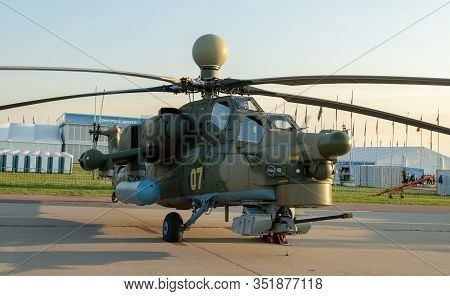 August 30, 2019. Zhukovsky, Russia. Russian Attack Helicopter Mil Mi-28 At The International Aviatio