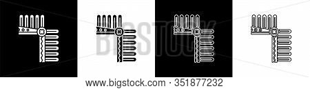 Set Indian Headdress With Feathers Icon Isolated On Black And White Background. Native American Trad
