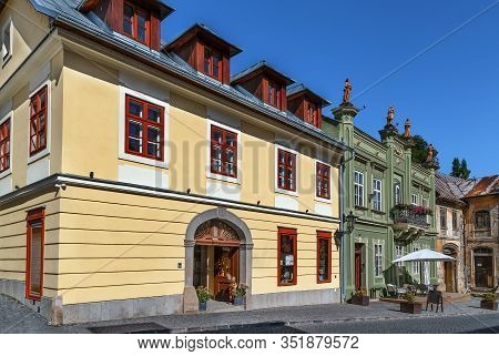 Street With Historical Houses In Banska Stiavnica Old Town, Slovakia