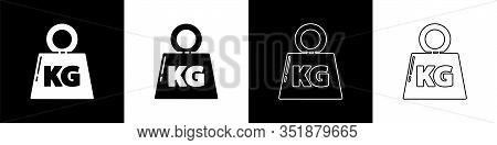 Set Weight Icon Isolated On Black And White Background. Kilogram Weight Block For Weight Lifting And