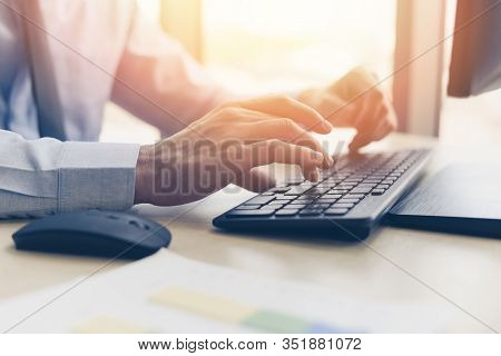 Businessman Working On Keyboard And Mouse Computer Man Sitting On The Table And Using Internet Techn