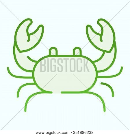 Crab Flat Icon. Seafood Crab Shop Logo Illustration Isolated On White. Sea Crustacean With A Broad C