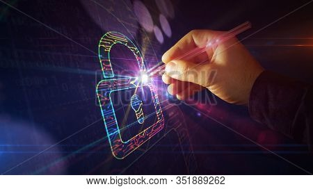 Cyber Security With Padlock Symbol Project Creating. Abstract Concept Of Internet Safety, Firewall A
