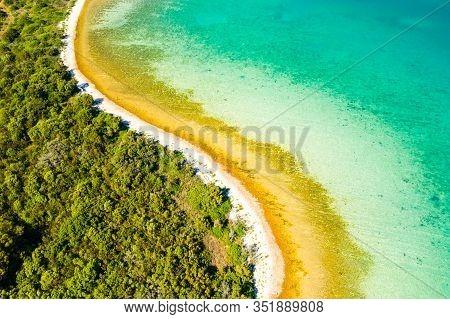 Croatia, Adriatic Paradise, Secret Beaches On Dugi Otok Island And Pine Woods From Drone