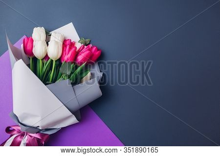 Spring Flowers. Womens Day Background. Bouquet Of White And Pink Tulips. Present Gift For Mothers Da