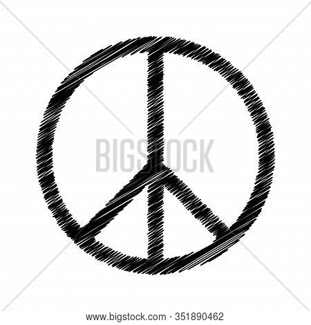 Vector Peace Symbol Icon Isolated On White
