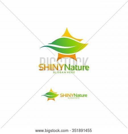 Printshiny Nature Logo, Shiny Leaf Logo, Shiny Farm Logo, Nature Star Symbol Template Vector Illustr