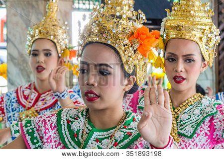 Bangkok, Thailand - 31st July 2017: Thai Dancers At The Erawan Shrine, Ratchaprasong. The Shrine Is