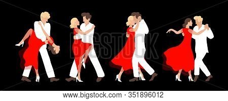 Four Passionate Couples Dancing Tango On A Dark Background.a Man In A White Suit And A Woman In A Re