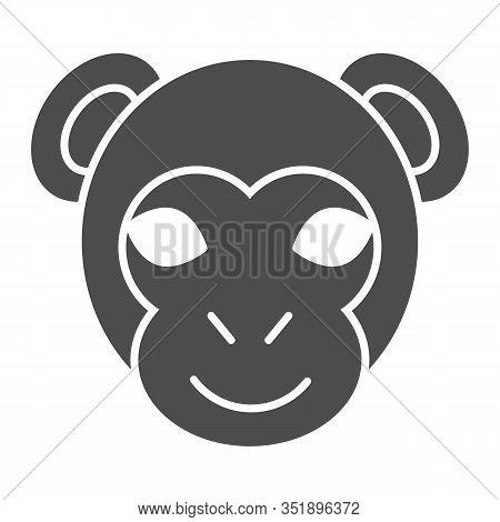 Monkey Head Solid Icon. Minimal Style Face Symbol, Little Gorilla Or Chimpanzee. Animals Vector Desi
