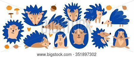 Vector Cheerful Set Of Little Blue Hedgehogs. Cute Cartoon Hedgehog Based On The Movie Sonic X. Fore