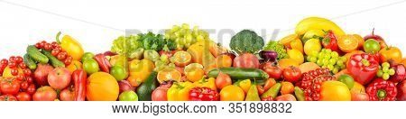 Collage of healthy fresh fruits and vegetables isolated on white background. Free space for text.