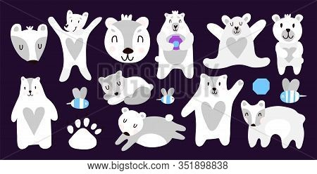 A Collection Of Polar Bears That Sleep, Run, Wave Their Paw. Cute Bears For Printing On Children's T