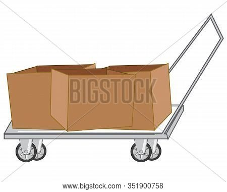 Vector Illustration Empty Cardboard Box On Pushcart