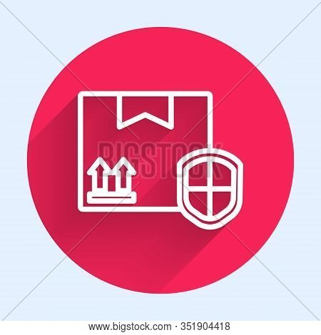 White Line Delivery Pack Security With Shield Icon Isolated With Long Shadow. Delivery Insurance. In